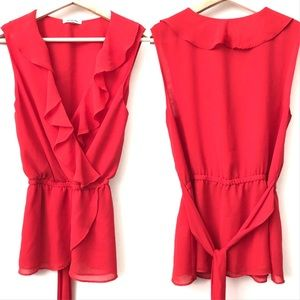 Max Studio • Red V-Neck Blouse with Ruffles